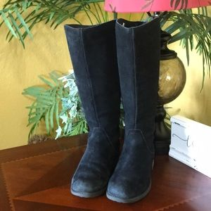 UGG Black Suede Seldon Zip Up Tall Boots